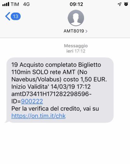 Acquisto biglietto 110 minuti SOLO rete AMT al costo di € 1,50 via SMS